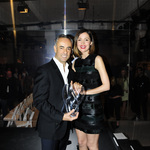 Francisco costa and rose byrne with award patrick mcmullan company